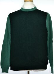 Kiton Mens Green Thick Cashmere Cable Knit Crewneck Sweater Size 50 M New