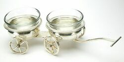 Antiques Salt And Pepper 2 Silver Plated Bowls On Wheels By Rogers. Unusual And Nice