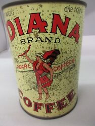 Vintage Advertising Diana Coffee Tin Can Graphics Collectible 993-g