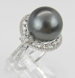 18k White Gold .93 Ct Diamond And 13mm Tahitian Pearl Engagement Ring Size 6.5