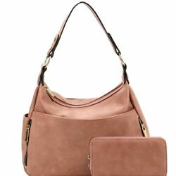 Multi Compartment 2 Way PU Leather Hobo and Wallet SET $54.99