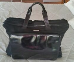 Authentic Travel Garment Bag Briefcas Overnight Nylon Leather Black Italy