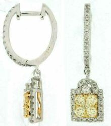 1.18ct White And Fancy Yellow Diamond 14kt White Gold 3d Cluster Square Earrings