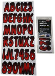 Hardline Factory Matched Letters And Numbers - Series 200 - Red/black - Rebkg200