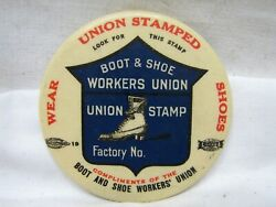 Antique Union Workers Stamped Boot And Shoes Celluloid Pocket Mirror Advertising