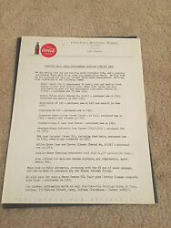 Advertising Letterhead Vintage 1950and039s Coca Cola Promoting Bottling Works Gary In