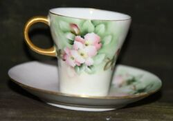 Rosenthal Hand Painted Pink Roses Demi Tea Cup And Saucer Gold Gilt Vintage German