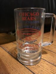 Chicago Bears Lot Of 2 Beer Pint Glasses 1986 Super Bowl Xx Old Style 70 Season