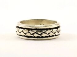 Vintage Men's Braided Design Spinning Band Ring 925 Sterling Silver RG 1077-E