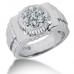 0.75 Carats Menand039s Ring With Round Brilliant Cut Diamonds In 14k White Gold