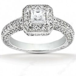 1.69 Carats Tw Womenand039s Princess Cut Diamond Engagement Ring In 14k Whit Gold