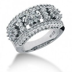 1.56 Carats Womenand039s Round Brilliant Cut Diamond Cocktail Ring In 14k White Gold