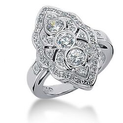 1.50 Carat Womenand039s Round Cut Diamond Right Hand Antique Ring In 14k White Gold
