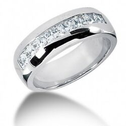 2.15 Carats Menand039s Princess Cut Channel Diamond Wedding Band In 14k White Gold