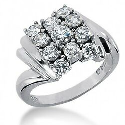 2.35 Carats Women's Round Brilliant Cut Right Hand Ring In 14k White Gold