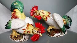 Pair Of Signed Italy Ceramic Hand Painted Rooster Figurines