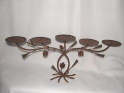 Vintage Rustic Wrought Iron 5 Pillow Candelabra Candlestick Holder