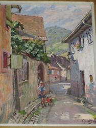 Charles Weiss Oil Painting On Canvas Ribeauville Alsace France Village Scene