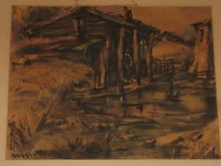 Michael Mcelroy Louisiana New Orleans Watercolor Painting Titled Old Cabin 1941