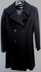 Dkny Black Double Breasted Fit And Flare Wool Cashmere Coat Misses Size 2 Nwot