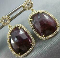 Large 12.19ct Diamond And Aaa Ruby 14k Yellow Gold Tear Drop Halo Hanging Earrings