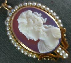 Antique Large Victorian Pearl 14kt Rose Gold Lady Cameo Brooch Pendant 1959