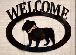 English Bulldog Handcrafted Metal Welcome Sign black silhouette Made in the USA