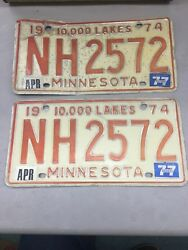 Match Number Set Pair 1974 Nh 2572 Minnesota Mn License Plate Tag Embossed 10000