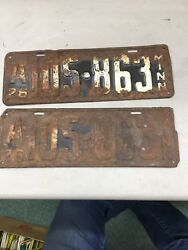 Match Number Set Pair 1926 A105-863 Minnesota Mn License Plate Tag Embossed
