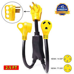 Dogbone Rv Power Cord Adapter Y Split 50 Amp Male To 2 30 Amp Female Connector