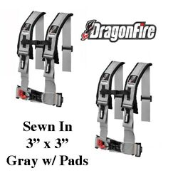 2 Sand Rail Car Dragonfire H-style 4 Point Sewn In Style Harness Gray 3 W/pads