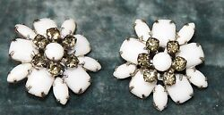 VINTAGE HIGH END ESTATE MILK GLASS RHINESTONE EARRINGS SILVER TONE CLIP 1 38