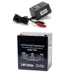 New Upg Ub1250 12v 5ah Replacement Np5-12 Home Alarm Battery And Charger