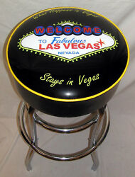 Welcome To Las Vegas Neon Sign Bar Stools What Happens In Vegas Stays In Vegas
