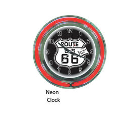 Route 66 Red Neon Wall Clock Brand New