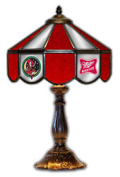 Miller High Life Girl On Moon Beer Stained Glass Mirror Table 14 Light Lamp