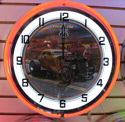 Meet Me On Route 66 Hot Rod Large Red Neon Clock