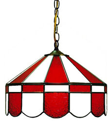 Red And White 16 Stained Glass Poker Table Light Lamp