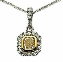 Estate 1.10ct White And Fancy Yellow Diamond 18kt Two Tone Gold 3d Octagon Pendant
