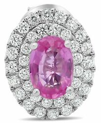 Estate 1.71ct Diamond And Aaa Pink Sapphire 18kt White Gold Oval 3d Stud Earrings