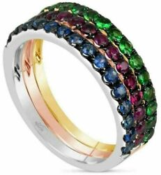 Estate .45ct Aaa Multi Gem 18kt Tri Color Gold 3d Semi Eternity Stackable Ring