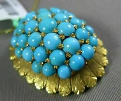 Antique Large Aaa Turquoise 18kt Yellow Gold 3d Leaf Cluster Sun Burst Pendant