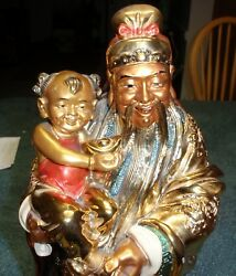 14quot; Chinese Japanese Asian Hand Painted Gold Bearded Man With Baby Dragon Mark