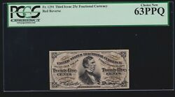 Us 25c Fractional Currency 3rd Issue Red Back Fr 1291 Pcgs 63 Ppq Ch Cu 020