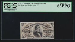 Us 25c Fractional Currency 3rd Issue Red Back Fr 1292 Pcgs 63 Ppq Ch Cu 020