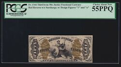 Us Justice Fractional Currency Red Back W/ 1 And A Fr 1344 Pcgs 55 Ppq Ch Au 020