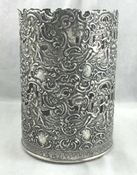 Great Sterling Figural/champagne Bottle Sleeve Coaster-5 5/8 Tall