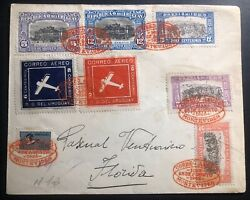 1926 Montevideo Uruguay Early Airmail Cover To Florida Mi282-3 14c Label