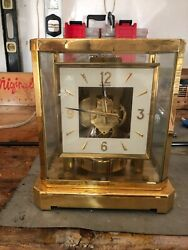 Jaeger Lecoultre Atmos Clock Model 528-8 Gold Plated Sides Pitted Runs Great