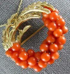 Antique Large Aaa Coral 14kt Yellow Gold Wreath Circle Brooch Pin Pendant 2256